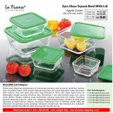 Apple Green 5pcs Glass Square Bowl With Lid