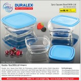 Duralex 3pcs Square Bowl With Lid