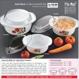June Rose 3+3pcs Casserole Set