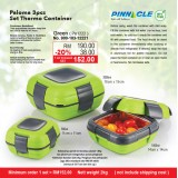 Paloma 3pcs Set Thermo Container  Green