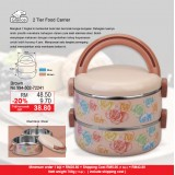 2 Tier Round Food Carrier  Brown